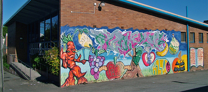 Commissioned graffiti on the side of Mayfield Public Library. Mayfield, New South Wales, Australia. Photo courtesy Mark McIntosh and wikicommons