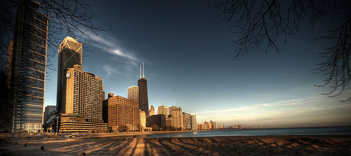 Chicago across from Lake Michigan. Photo courtesy Mike Boehmer and wikicommons