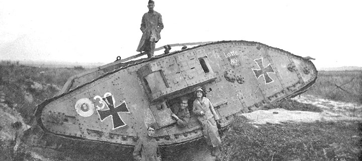WWI remains of a tank. Photo courtesy WIkimedia Commons