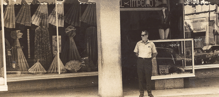 Family photograph of Alisse Waterston's father standing in front of his store (El Imperio) in San Juan, Puerto Rico. A cropped version of this photograph is also on the homepage of the book's website at http://myfatherswars.com. Photo courtesy Alisse Waterston