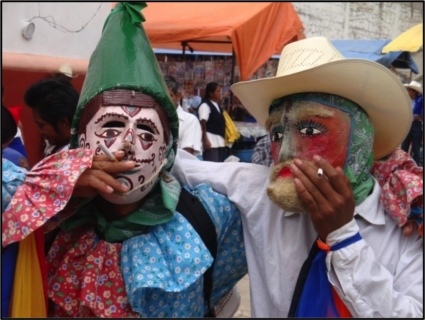 Two men stand in masks, each with one arm around the other, and each smoking a cigarette.
