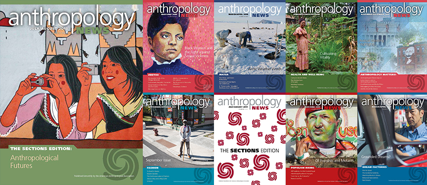 Banner of the 11 most recent AN magazine covers.