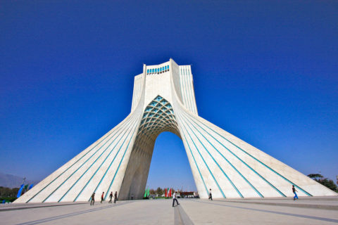 Azadi Tower backed by a clear sky.