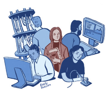 illustration of woman in blazer with notepad surrounded by tech professionsals.