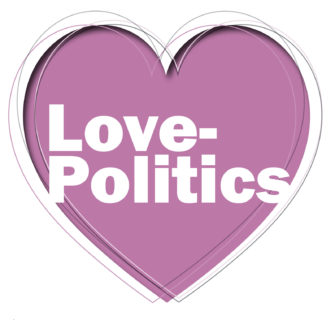"Illustrated heart with ""love politics"" written in the center."