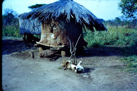 A shrine that appears to be made of earth and with walls on four sides, sits at a fork in the road and has a straw roof.