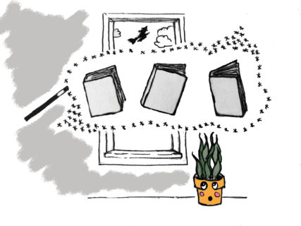 Illustration of a potted plant with a face, that's looking surprised at the books and magic wand floating in front of a window. A witch flies on a broom in the distance.
