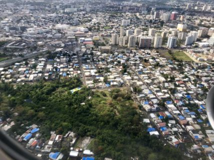 Photo of San Juan from the window of an airplane.