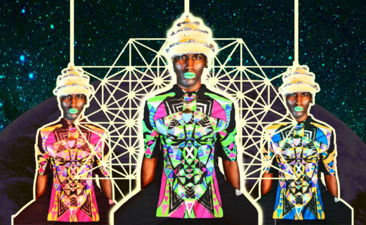 Artwork showing three identical black men in brightly colored tight-fitting bodysuits connected by webs of light, against a starry night sky.