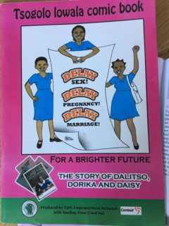 "A booklet whose cover reads: Tsogolo Iowala comic book for a brighted future: the story of Dalitso, Dorika, and Daisu."" The cover picture shows three girls holding a sign that reads: ""Delay sex! Delay Pregnancy! Delay Marraige!"" Book was produced by Girl's empowerment Network with funding from Cord Aid."