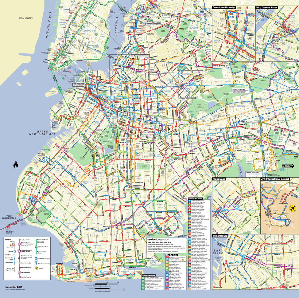 Cartographic image of the Brooklyn Bus map