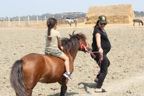 Pregnant mother in jeans and a t-shirt leads a pony that is shorter than she is. Her dauther sit on the pony without a saddle.