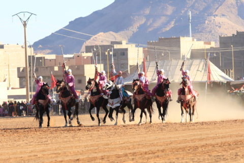 Group of women on horses gallop together. Dust is being kicked up behind them.