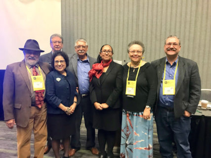 was a photo taken on the day of the panel, Roberto R. Alvarez is 3rd man from the left. Maria Luz Torres gave me her permission via email. I'll forward it .Some of these were not presenters but attendees, celebrating Alvarez.