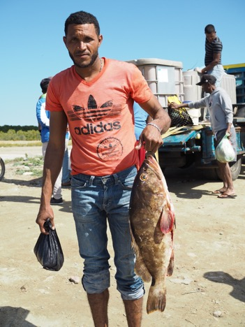 A fisherman wearing a red Adidas t-shirt holds a large fish.