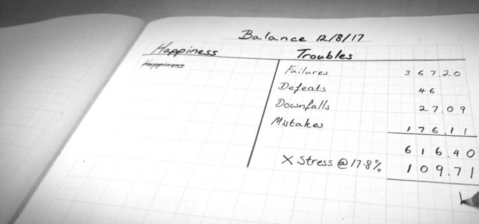 """photo shows a notebook balance sheet, one column is labeled """"happiness"""" and the other, """"troubles."""" In the happiness column, the single entry, which also reads """"happiness,"""" is scribbled out. The other column has a list that reads """"failures, defeats, downfalls, mistakes,"""" each assigned a number value. At the bottom of this column, a pen is pressed to the paper, it appears to just have written """"x stress @ 17.81%""""."""