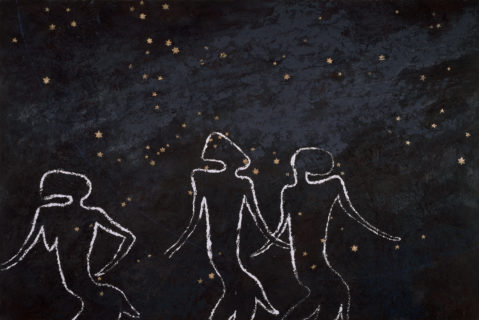 The outline of three bi-pedal figures against the backdrop of a starry night sky.