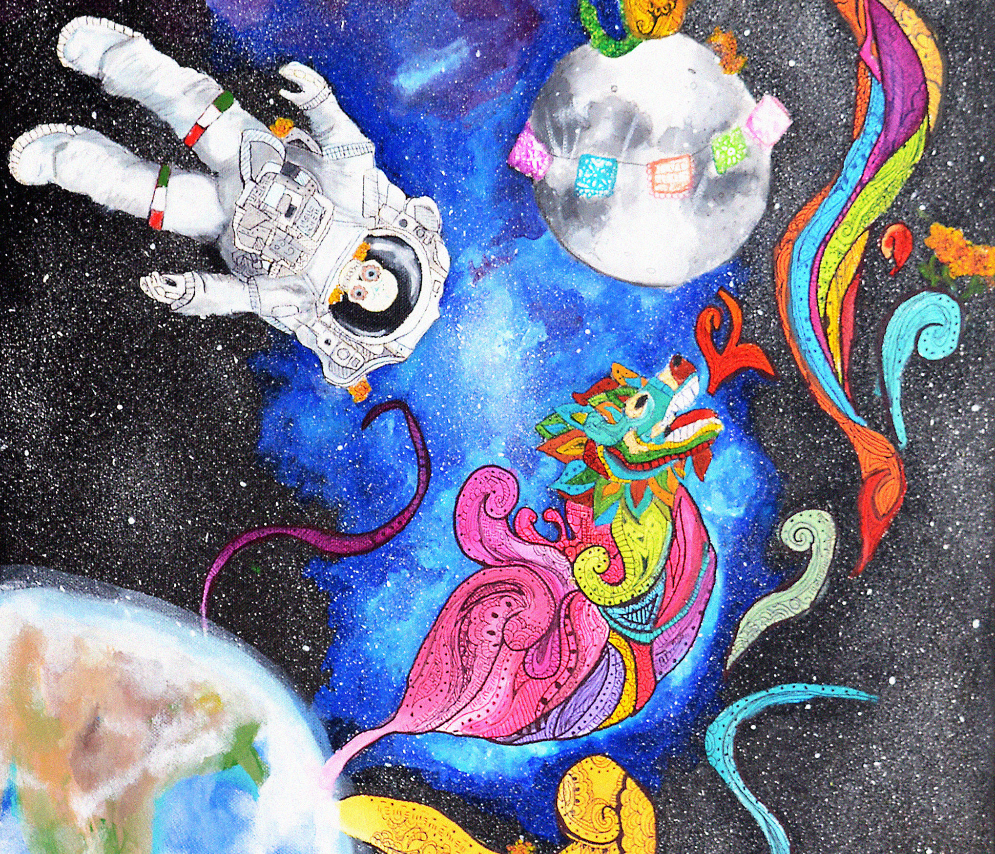 The image includes a water painting of a star-filled galaxy with the earth and the moon in the background. In the foreground, a Día de los Muertos skull astronaut and a stylized Chinese dragon float in front of the galaxy background. Purple-blue blocks sit on the top and bottom of the image.
