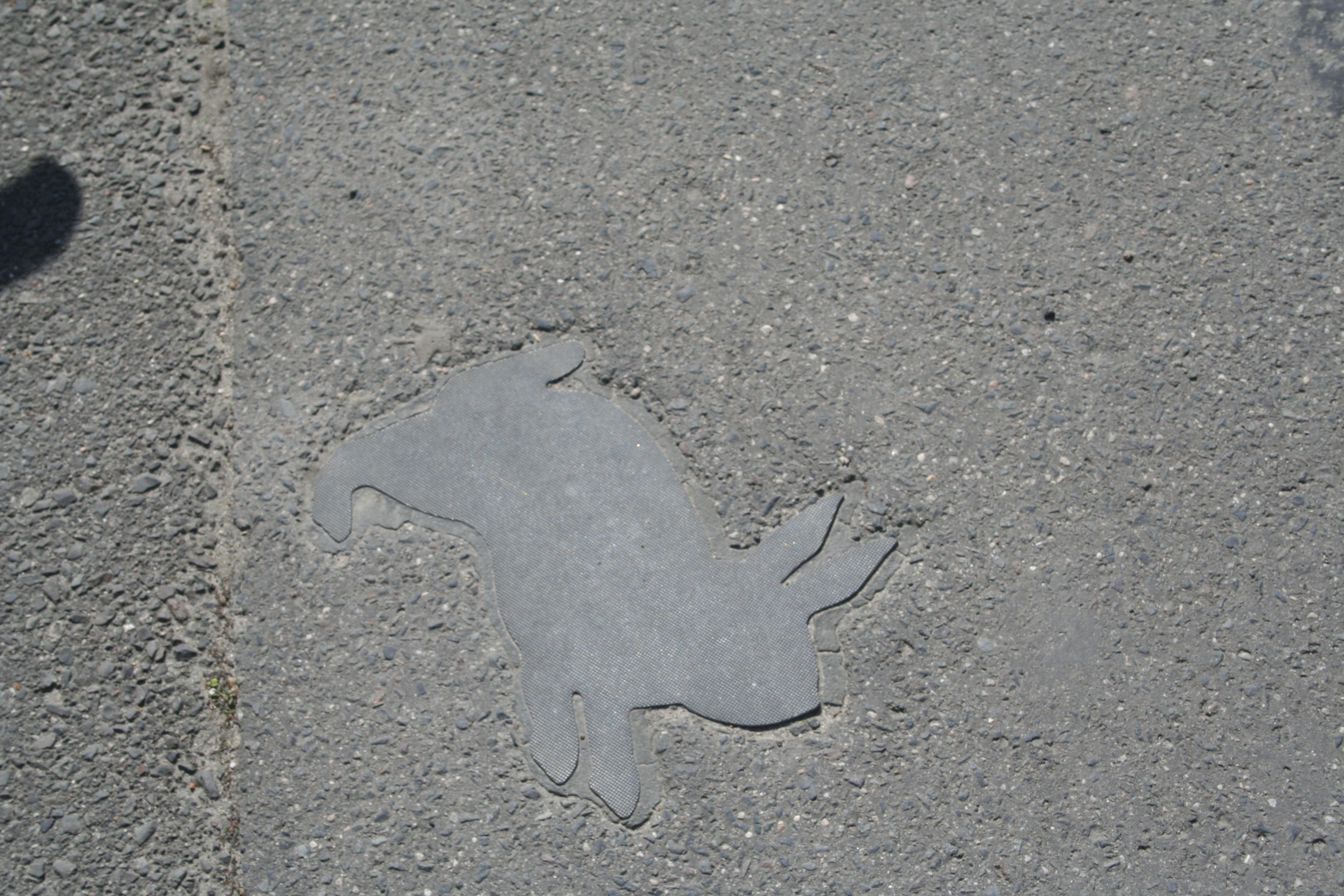 A photograph of a paved walkway with the shape of a rabbit set in the middle, smoother than the surrounding ground.