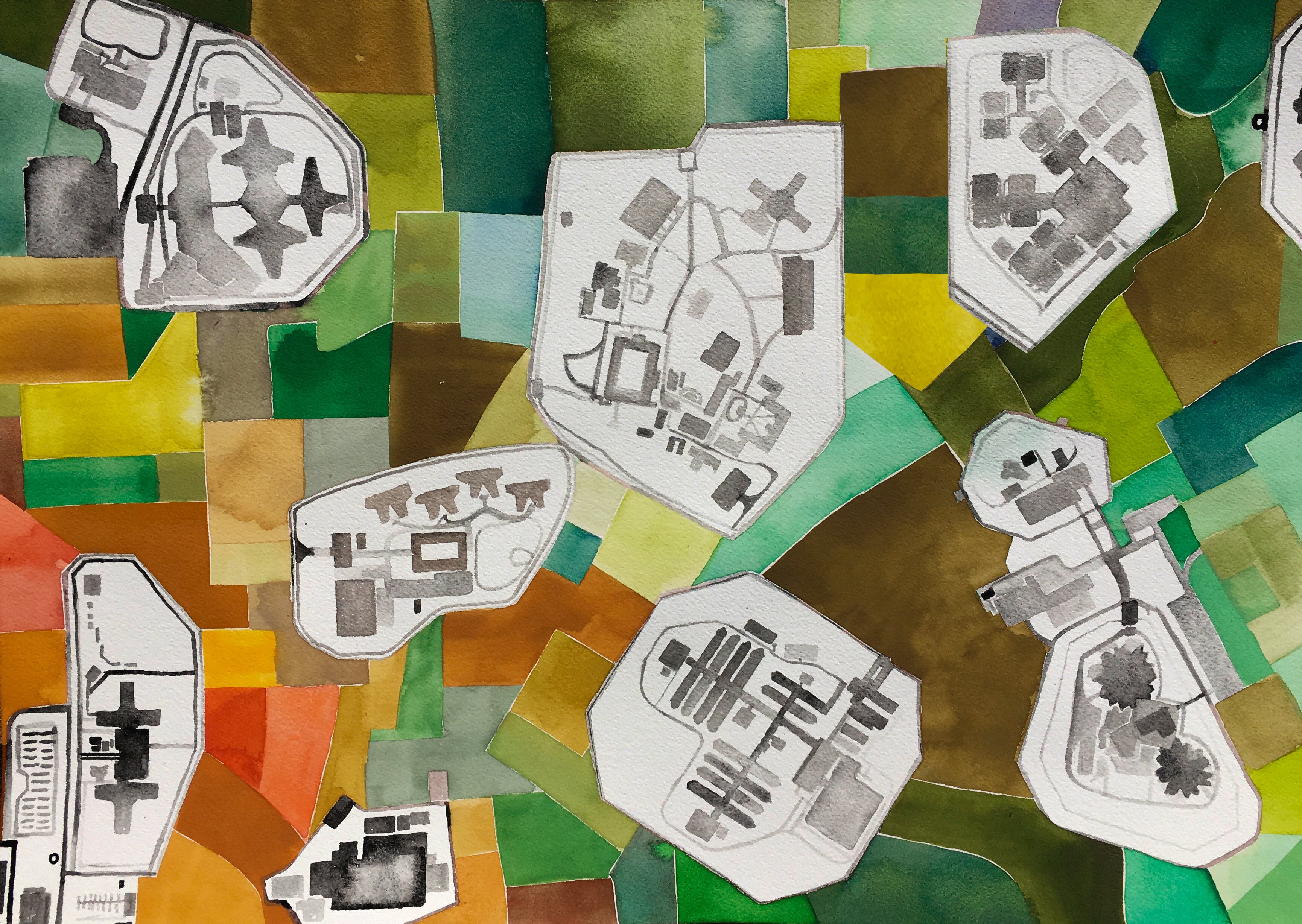 A painting depicts a patchwork of colors: green, yellow, brown, orange, and red. Within this patchwork are the painted outlines of black and white complexes of buildings.