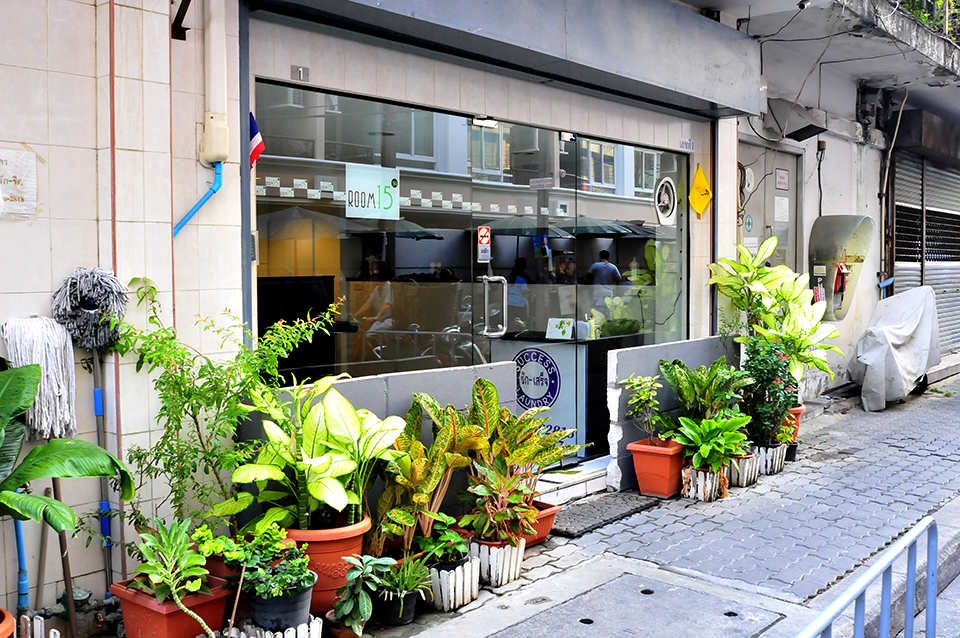 A photograph of a storefront with a number plants on the sidewalk before it. Between the store and the plants is a short grey wall just enough missing that the door can be entered.
