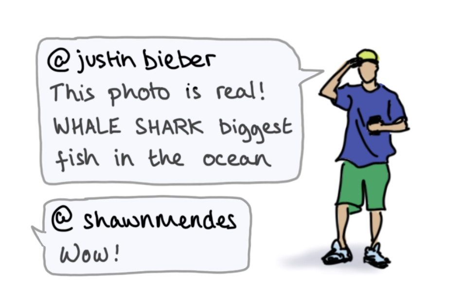 Cartoon illustration of Justin Bieber with text from Bieber's Instagram account.