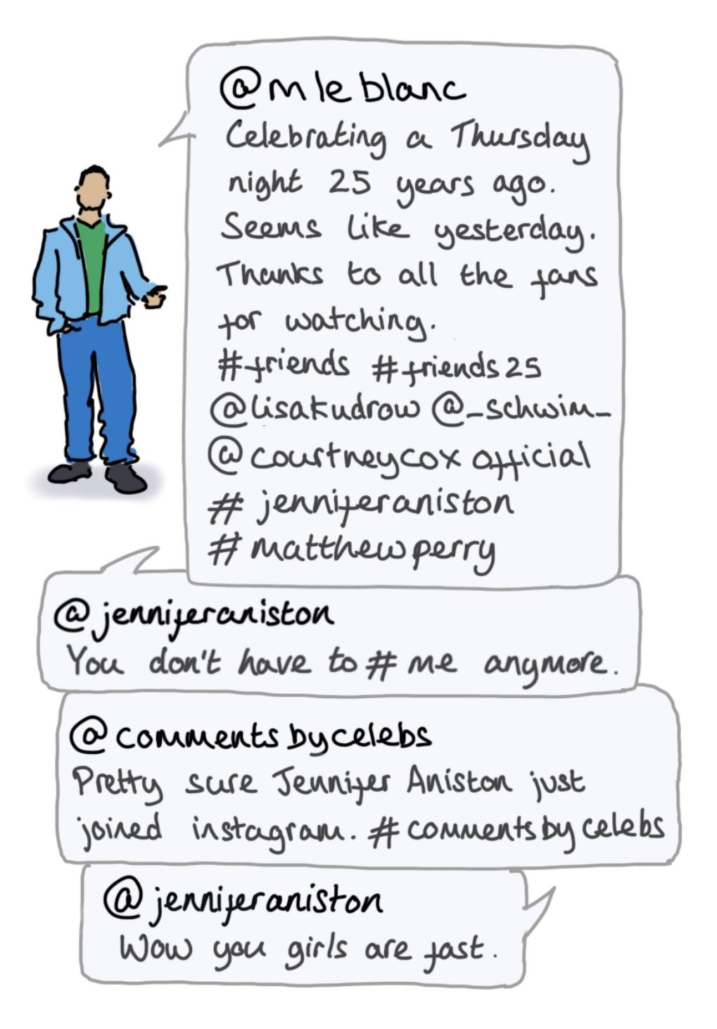 Cartoon illustration of Matt LeBlanc with text from LeBlanc's Instagram account.