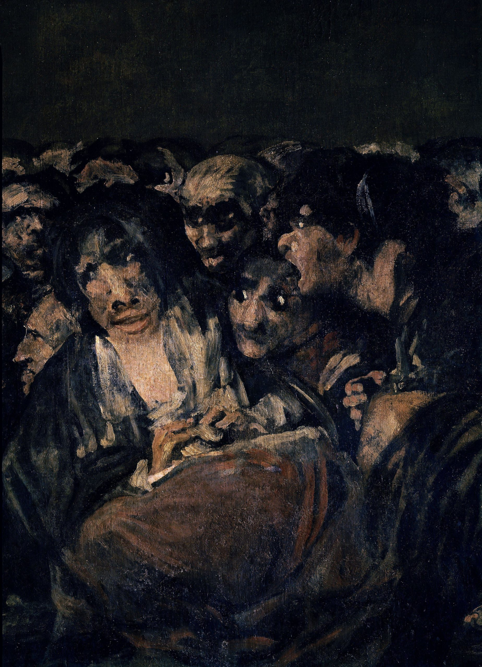 An oil painting depicting a crowd of human faces.