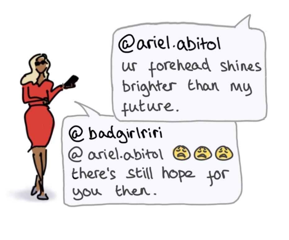 Cartoon illustration of Rihanna with text from Rihanna's Instagram account.