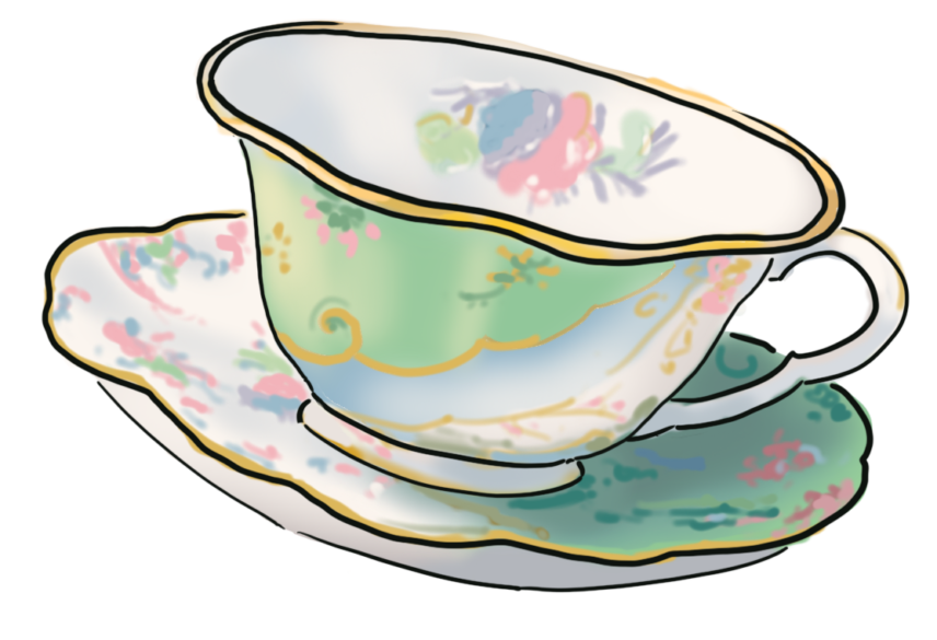 An illustration of a teacup and saucer.