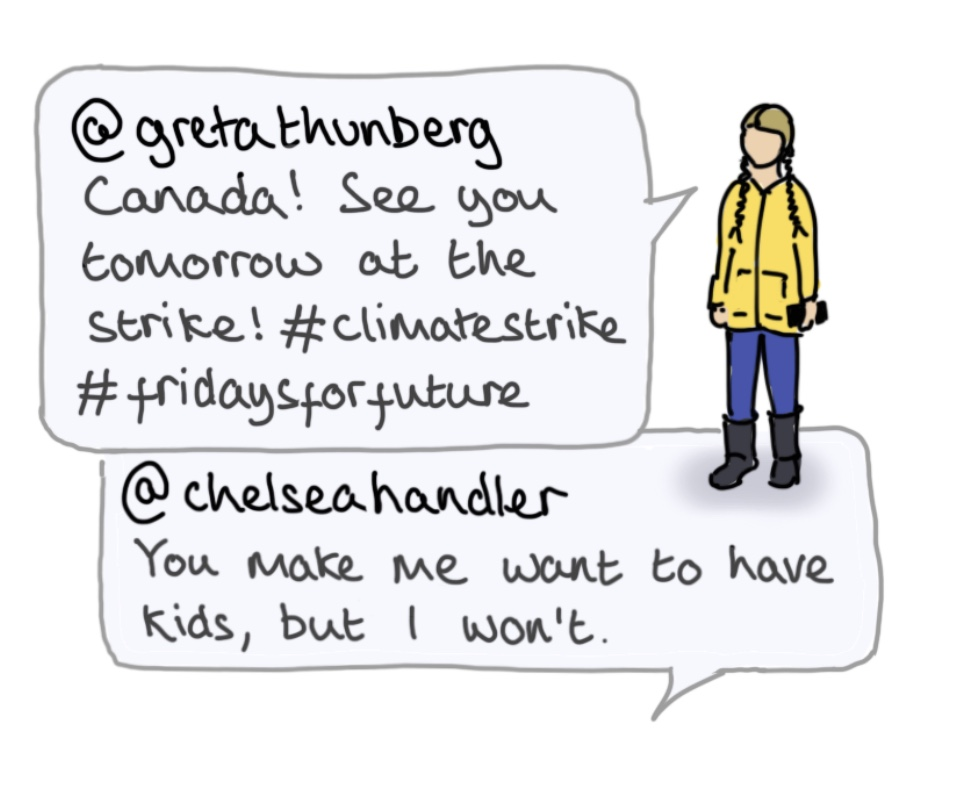Cartoon illustration of Greta Thunberg with text from Thunberg's Instagram account.