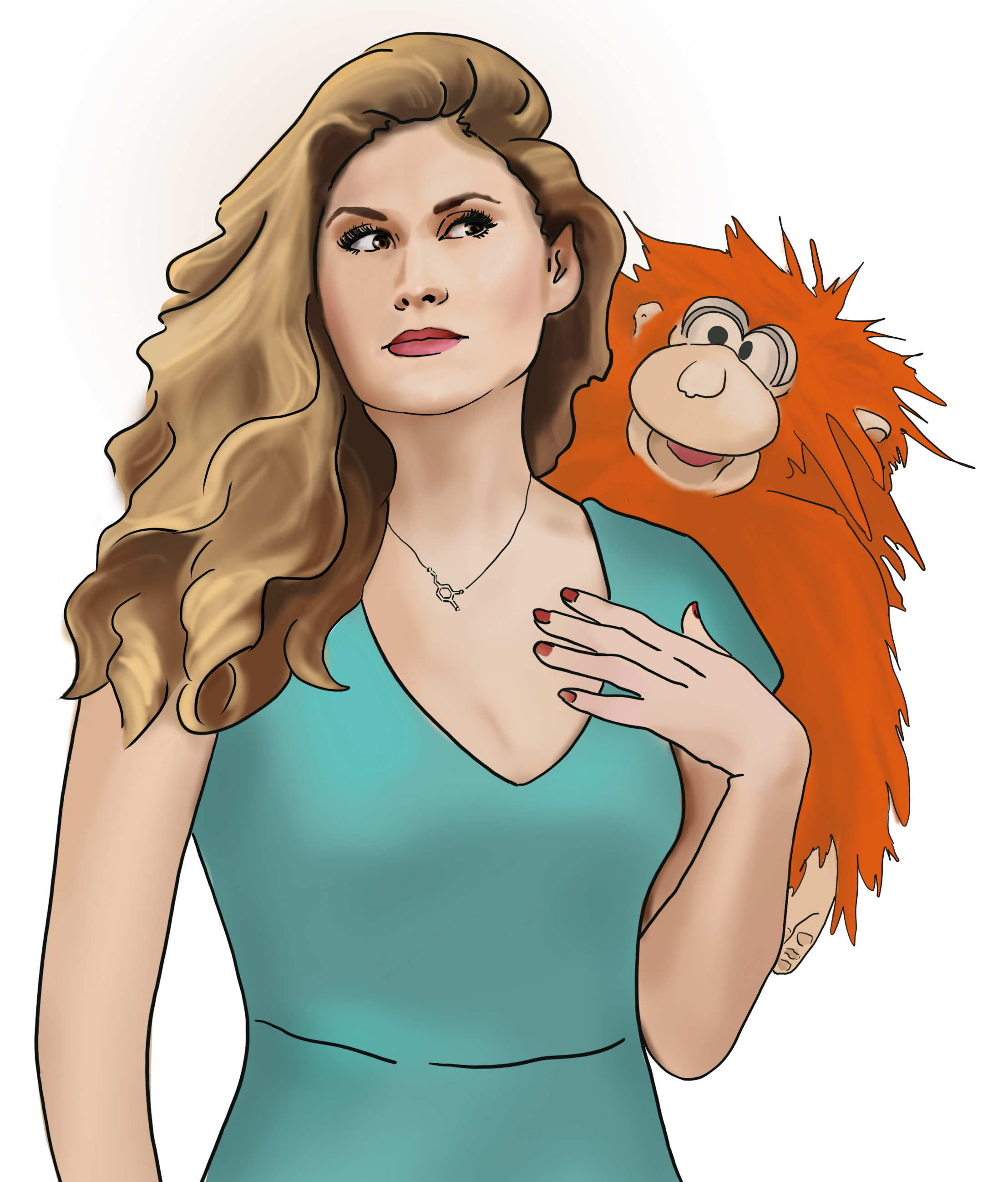 Drawing of a woman with an orangutan puppet