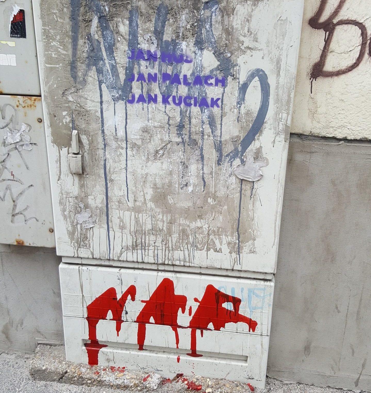 Photograph of graffiti memorializing assassinated investigative journalist Ján Kuciak.