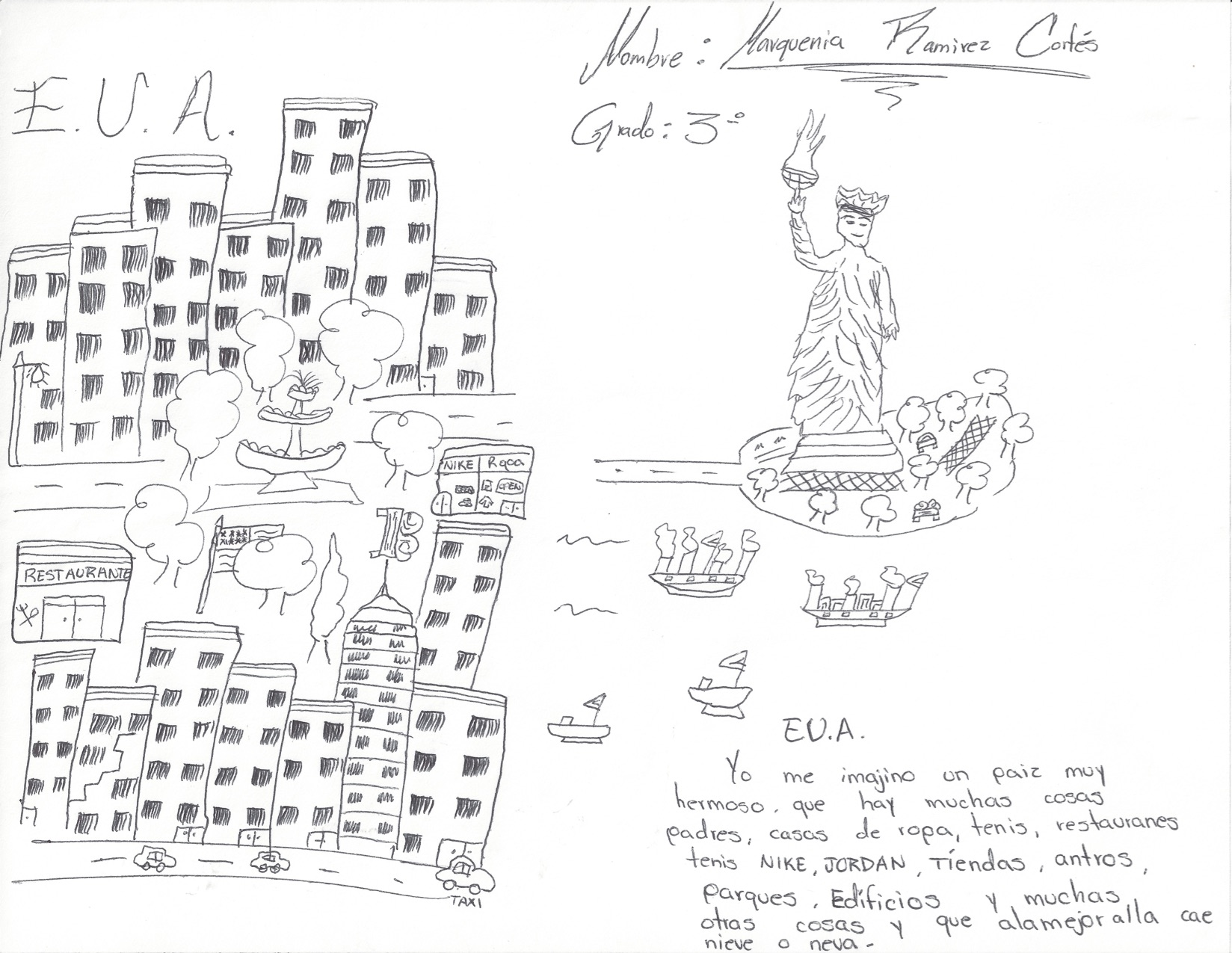 A drawing by a child of what she imagines New York City to look like.