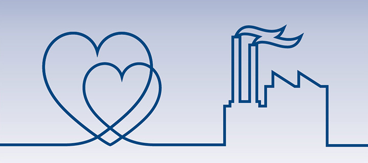 Line illustration of factory and hearts.