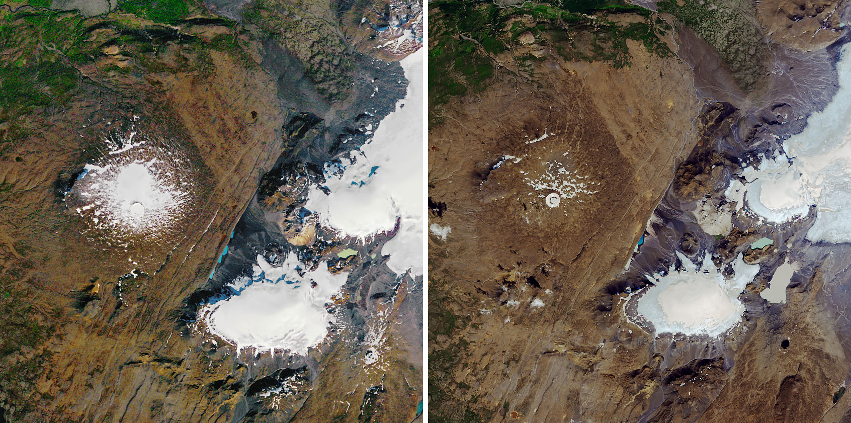 Side by side comparison of aerial photos of the glacier from 1986 and 2014.