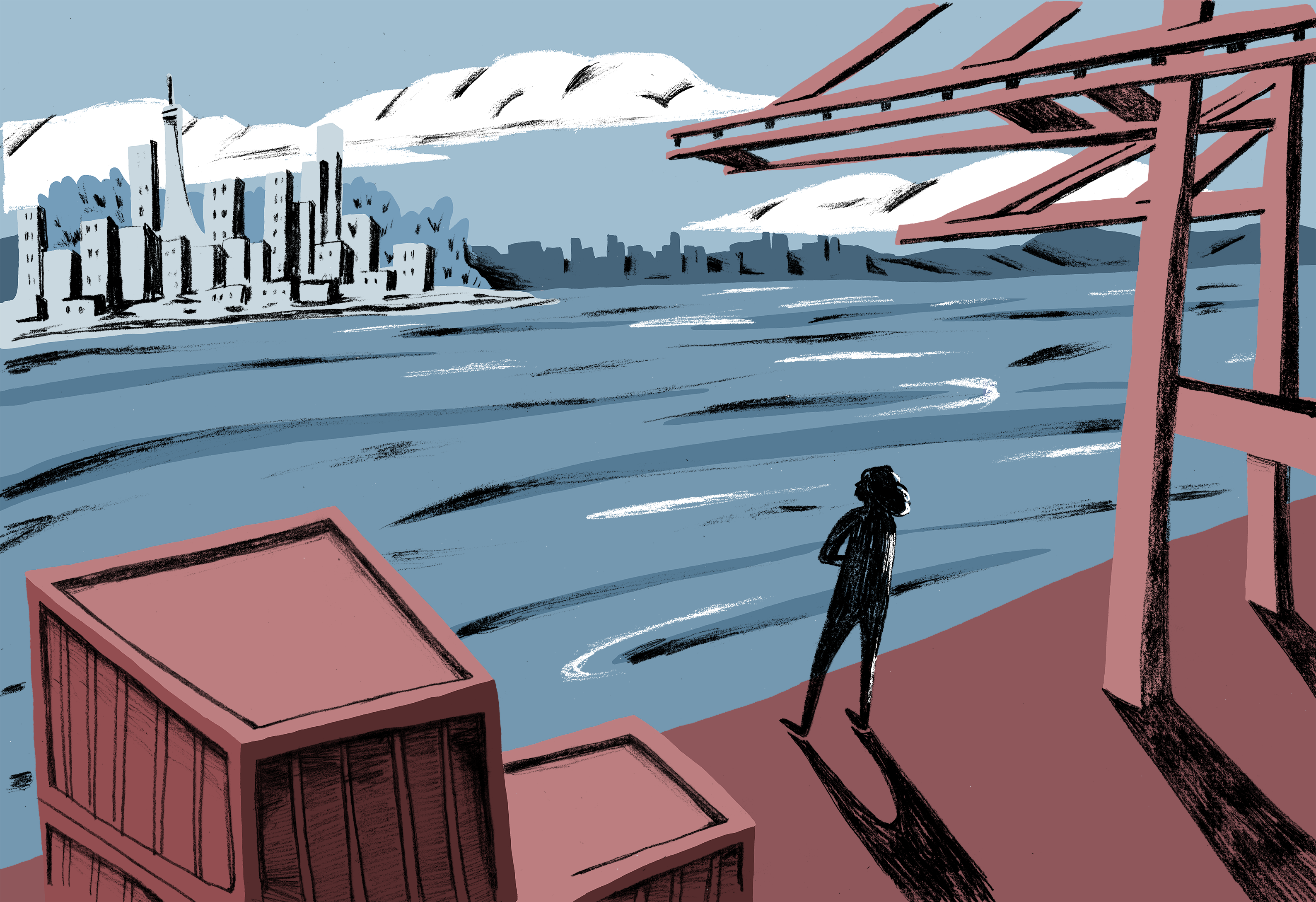 Illustration of someone looking out over a river at a city.