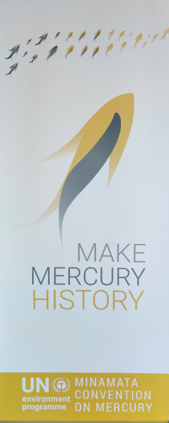 Photograph of conference banner for the Minamata Convention on Mercury.