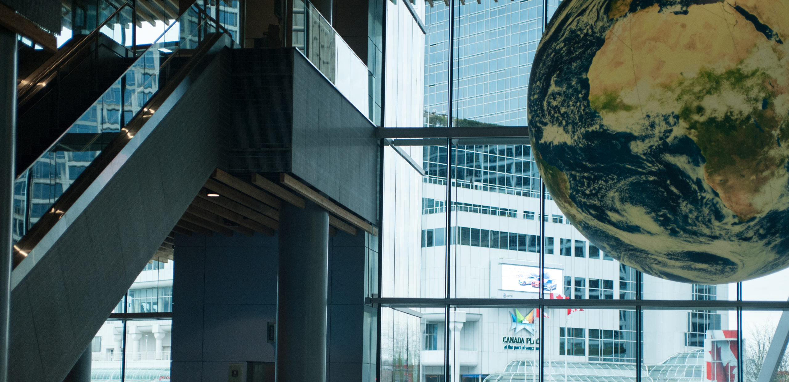 Photo from inside one entrance of the Vancouver Convention Center.
