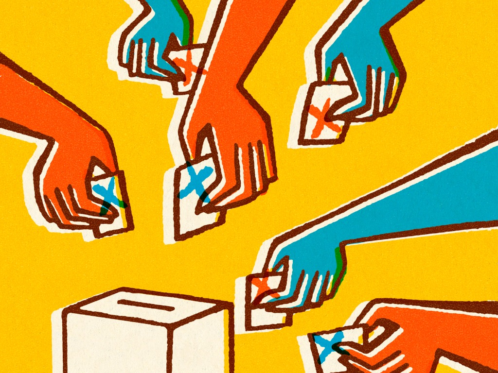Illustration of hands reaching out to place pieces of paper into a ballot box.