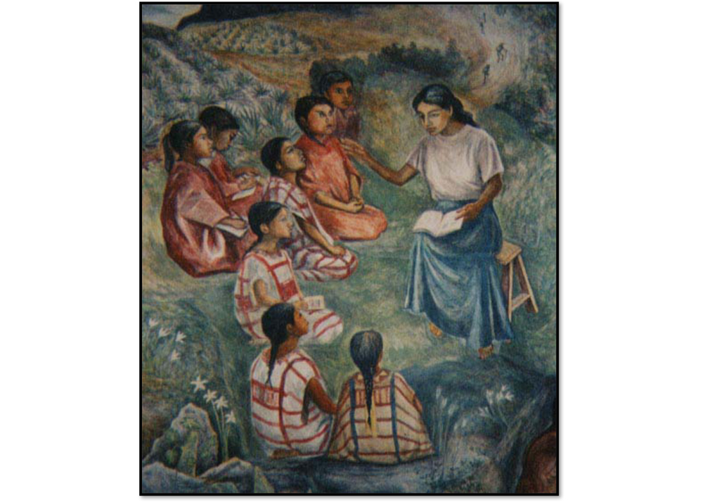 A painting of a teacher with her students.