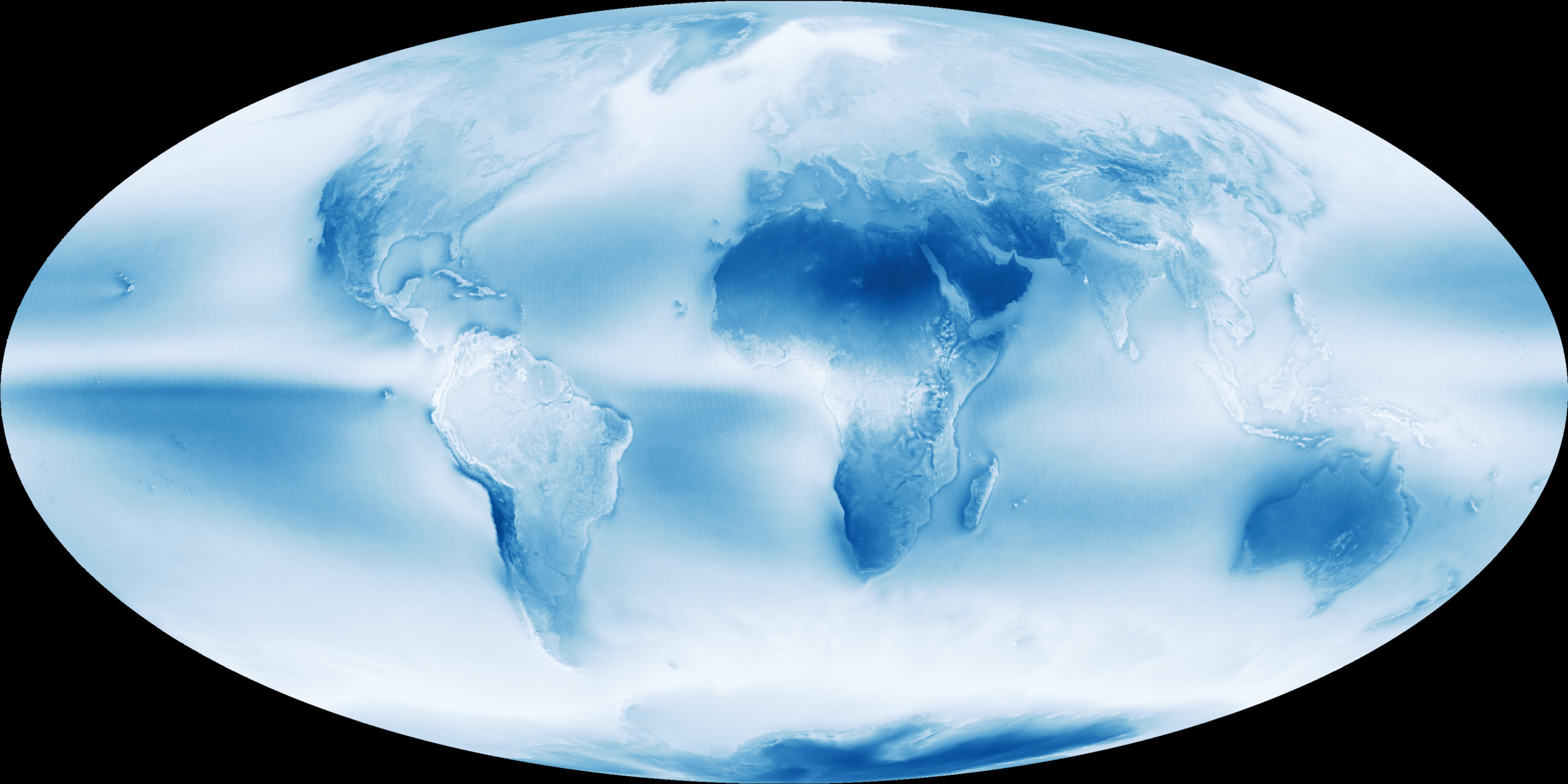 Photograph of cloudy earth in blue and white.