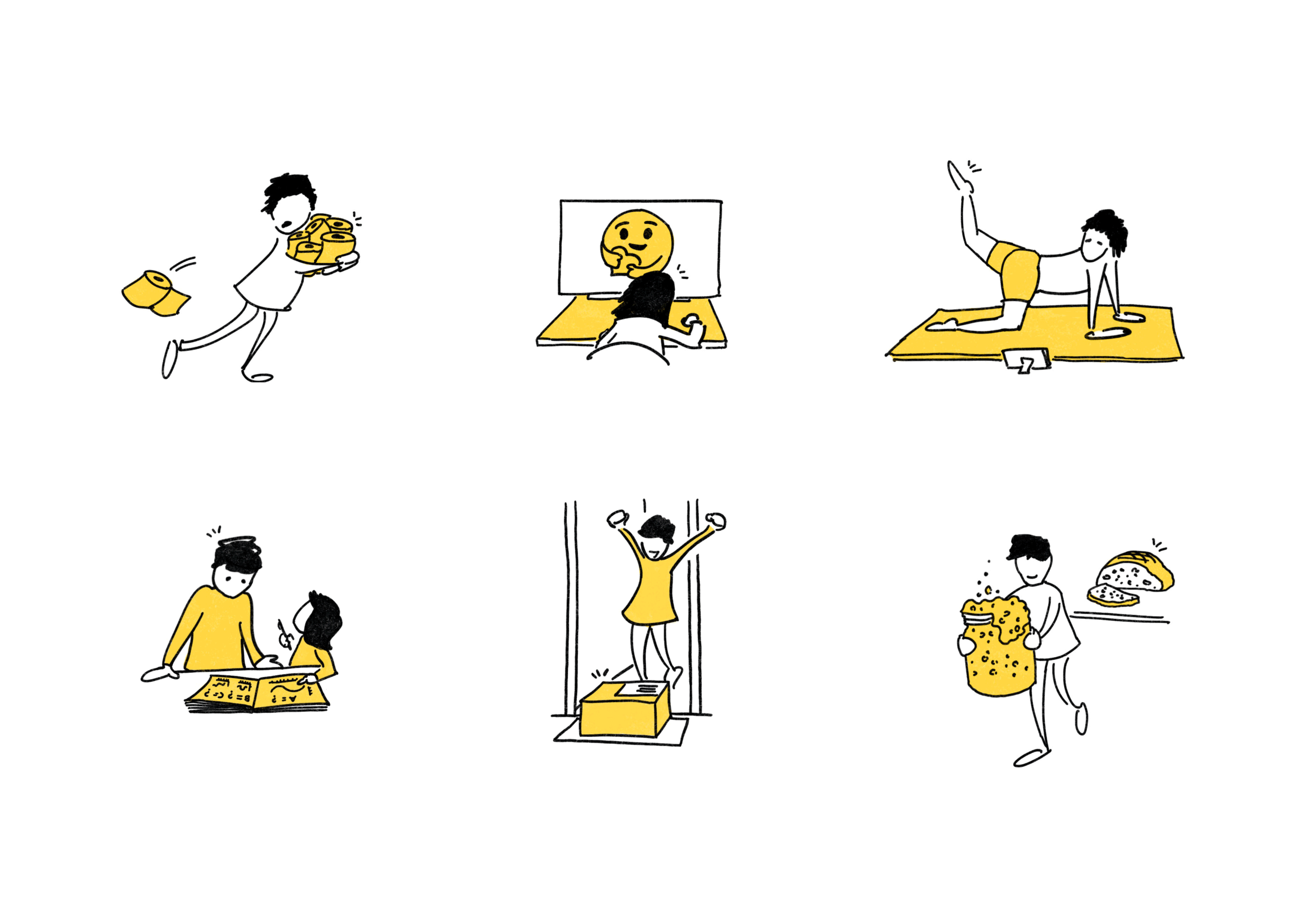 Collection of illustrations of people engaged in different activities often undertaken during social distancing.