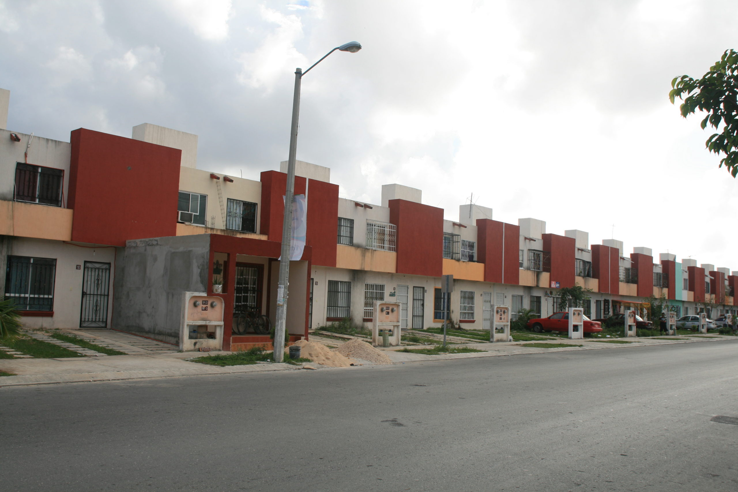 Photograph of a street with houses