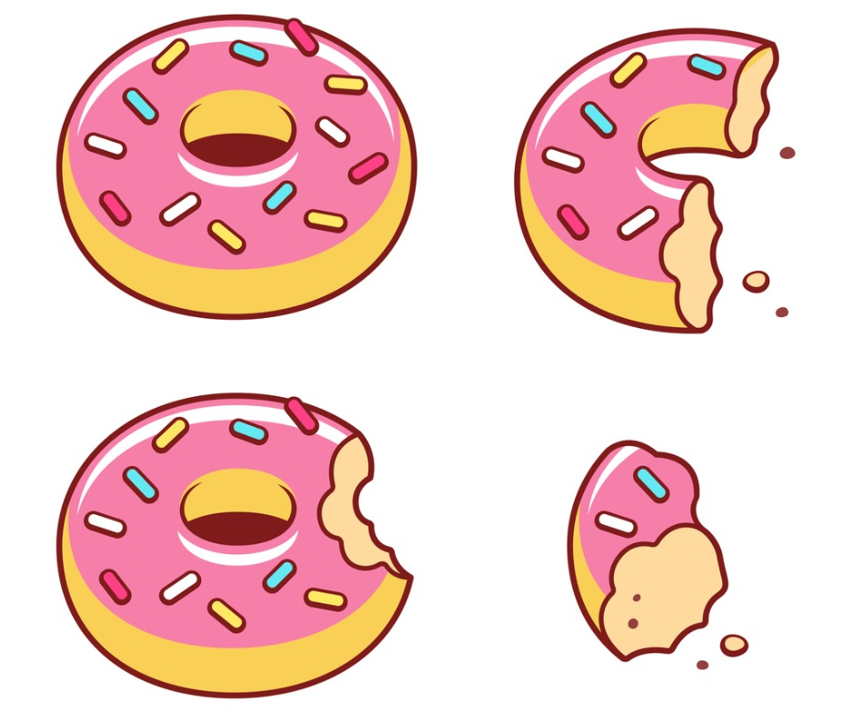 Drawing of four doughnuts all in various stages of consumption