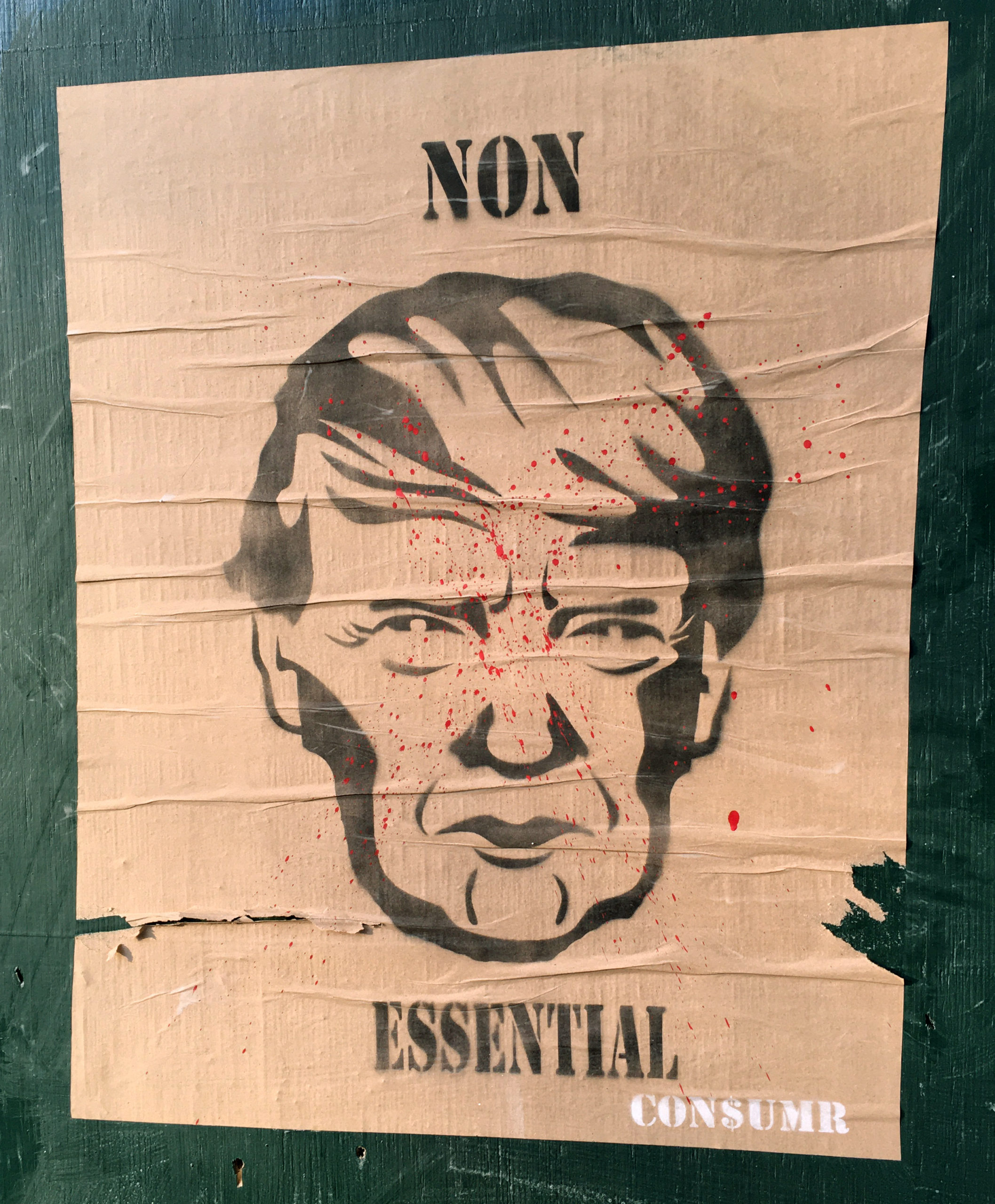 A poster on a wall.