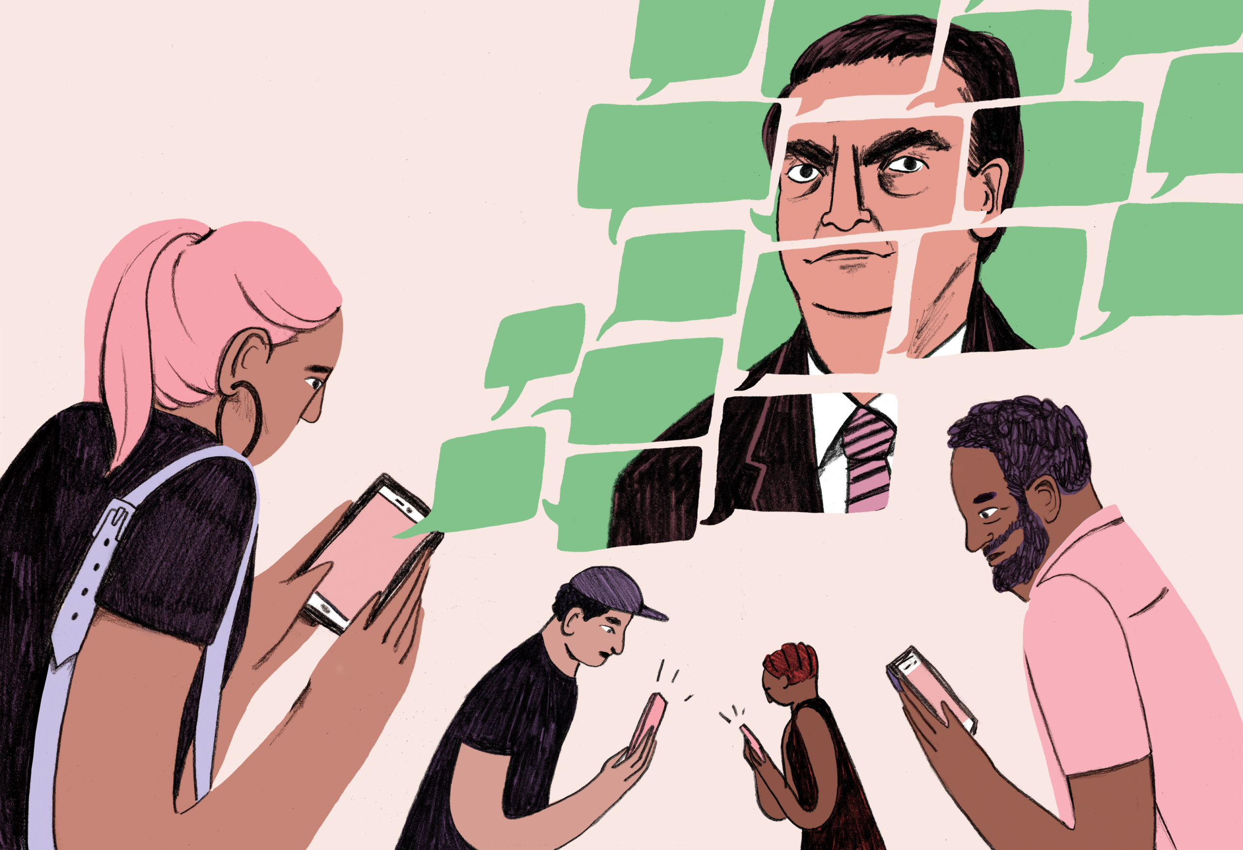 Illustration of people looking at their phones.
