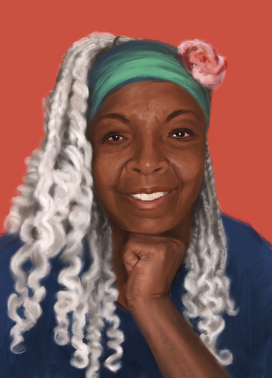 Painting of a Black woman with long silver-gray braids