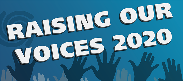 Banner for Raising Our Voices 2020