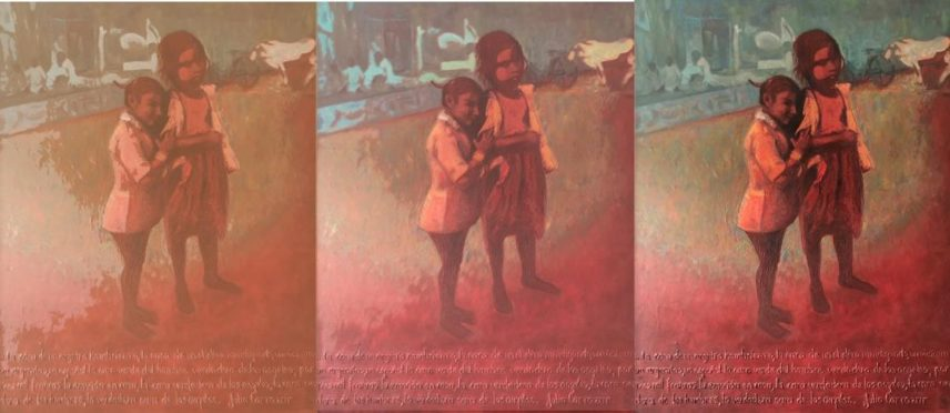 Three iterations of a painting of two girls